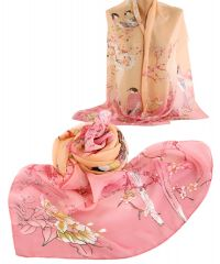 Шарф TRAUM 2495-29 розовый с птичками