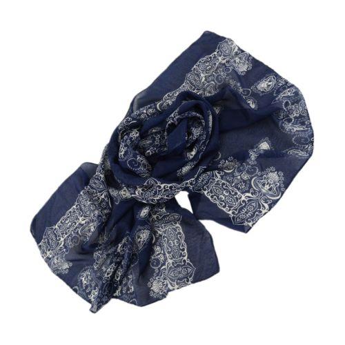 Шарф TRAUM 2495-86 синий с белым узором