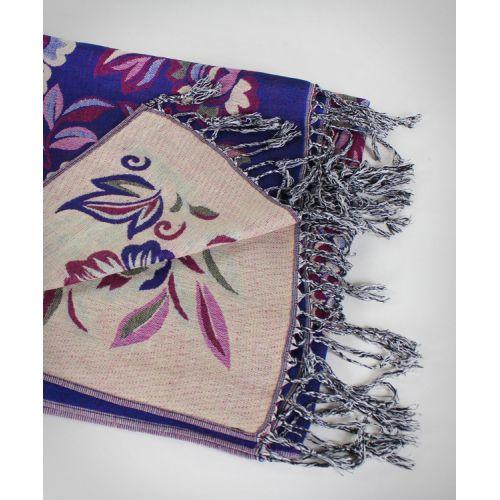 Шаль TRAUM 2493-50 синяя с цветами
