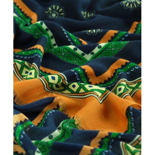 Шаль TRAUM 2494-76 синяя с принтом