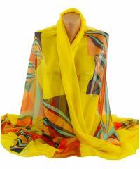 Шаль TRAUM 2497-50 желтая с ярким рисунком