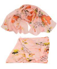 Шарф TRAUM 2495-79 розовый с цветами