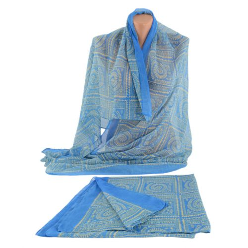 Шарф TRAUM 2495-92 голубой с бежевым