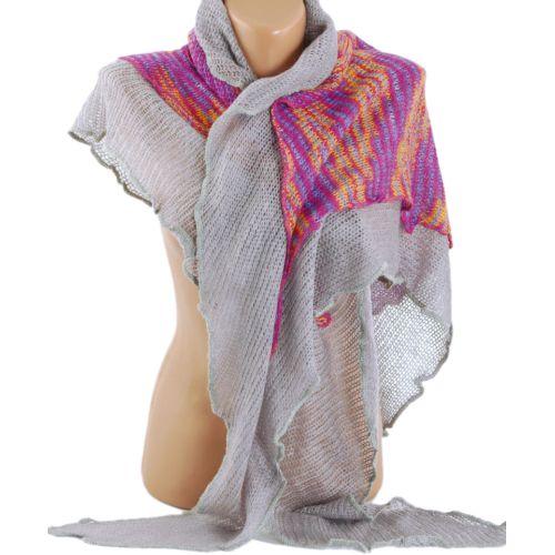 Платок TRAUM 2483-18 серый с разноцветной серединой
