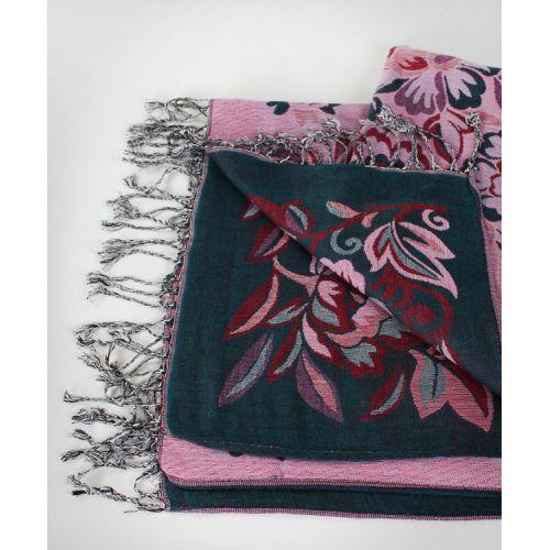 Шаль TRAUM 2493-51 зеленая с розовыми цветами
