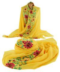 Шаль TRAUM 2494-74 желтая с вышитыми цветами