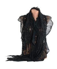 Вязаный шарф TRAUM 2483-65 черный