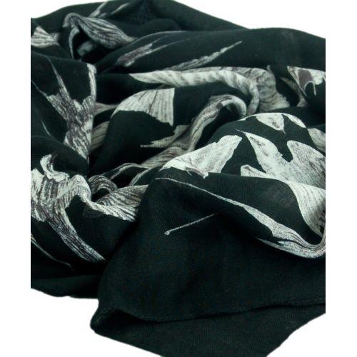Шаль TRAUM 2494-20 черная с ласточками