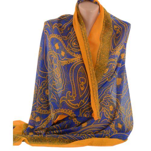 Шаль TRAUM 2495-89 синяя с оранежевым