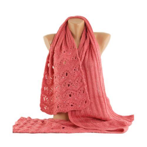 Вязаный шарф TRAUM 2483-04 розовый ажурный