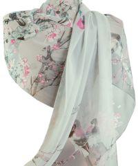 Шарф TRAUM 2495-27 серый в розовые цветы