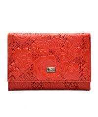 Кошелек женский кожаный Desisan 305-424 красный цветы