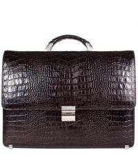 Портфель кожаный Desisan 205-19 коричневый кроко