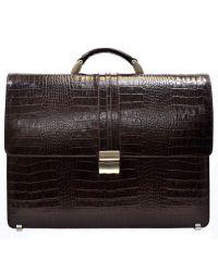 Портфель кожаный Desisan 317-19 коричневый кроко