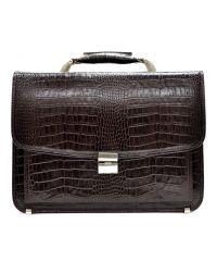 Портфель кожаный Desisan 5011-19 коричневый кроко