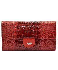 Кошелек женский кожаный Desisan 726-580 красный кроко лак
