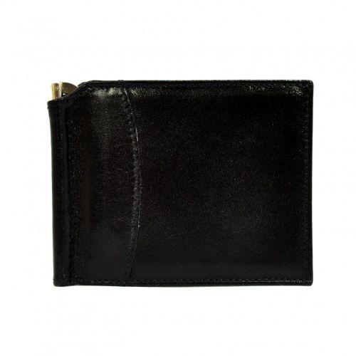 Портмоне-Зажим кожаный CANPEL 070-1 черный гладкий