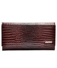 Кошелек женский кожаный Desisan 057-626 бордо кроко лак