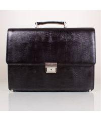 Портфель кожаный KARYA 0611-076 черный лазер