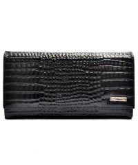 Кошелек женский кожаный Desisan 057-633 черный мелкий кроко