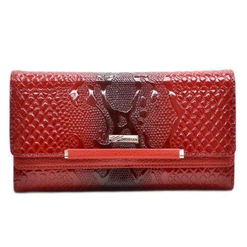 Кошелек женский кожаный Desisan 724-500 красный узор лак