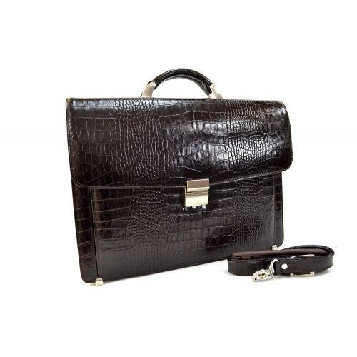 Портфель кожаный Desisan 206-19 коричневый кроко