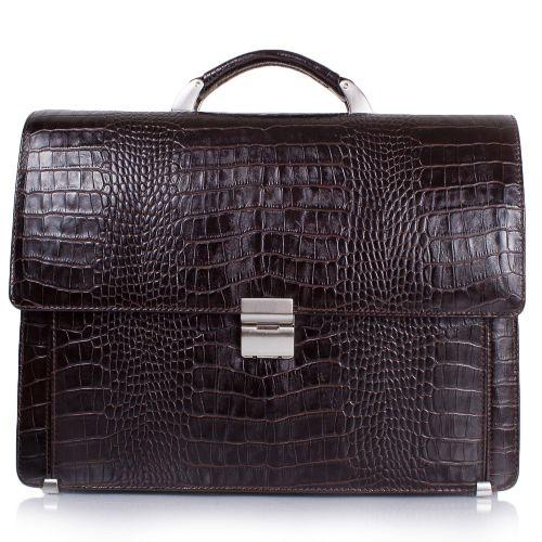 Портфель кожаный Desisan 319-19 коричневый кроко