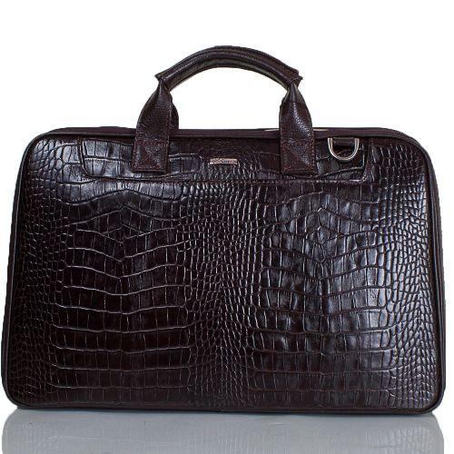 Портфель кожаный Desisan 7007-19 коричневый кроко