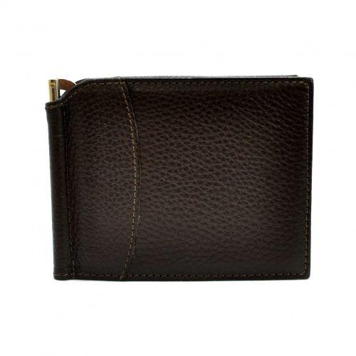 Портмоне-Зажим кожаный CANPEL 070-14 коричневый флотар