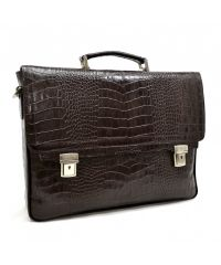 Портфель кожаный KARYA 0146-57 коричневый кроко