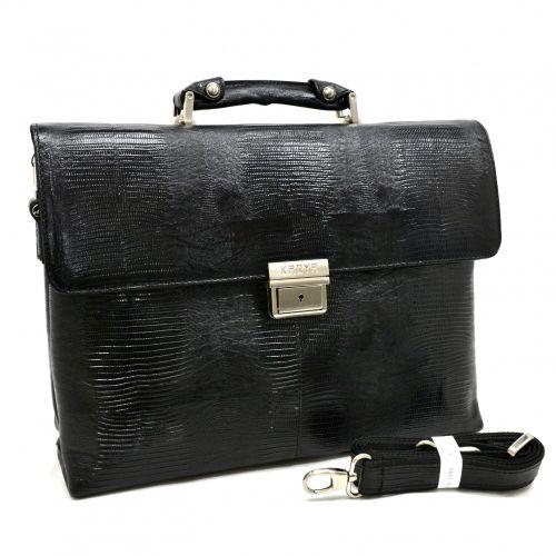 Портфель кожаный KARYA 0152-076 черный лазер