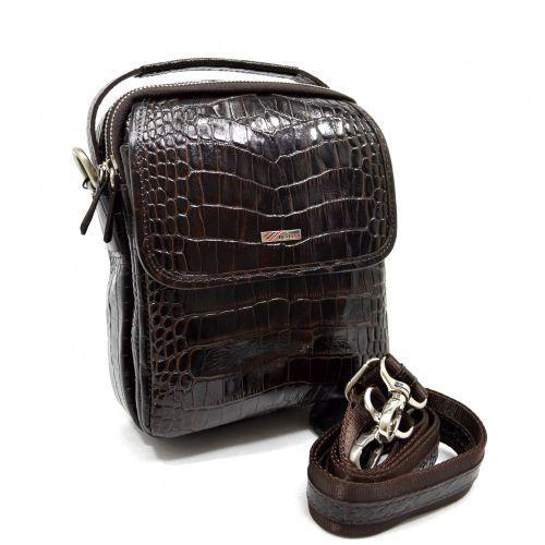 Барсетка кожаная мягкая DESISAN 1344-19 коричневый кроко
