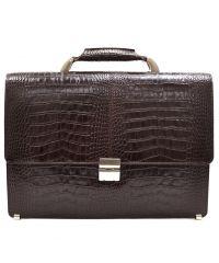 Портфель кожаный Desisan 5006-19 коричневый кроко
