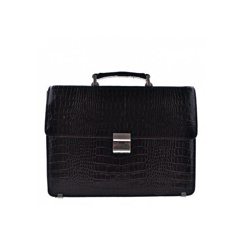 Портфель кожаный Desisan 2005-11 черный кроко