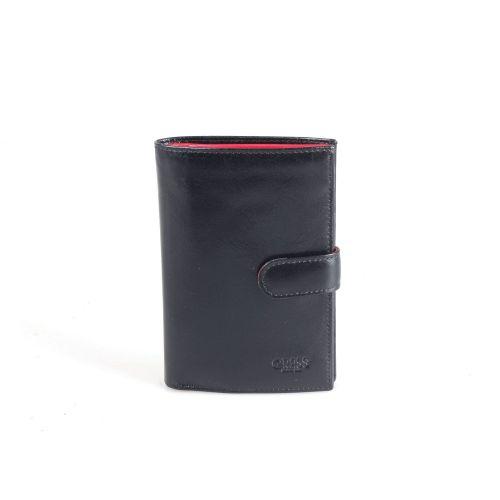 Портмоне кожаное GRASS 397-1/5 черно-красный