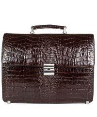 Портфель кожаный Desisan 2005-19 коричневый кроко