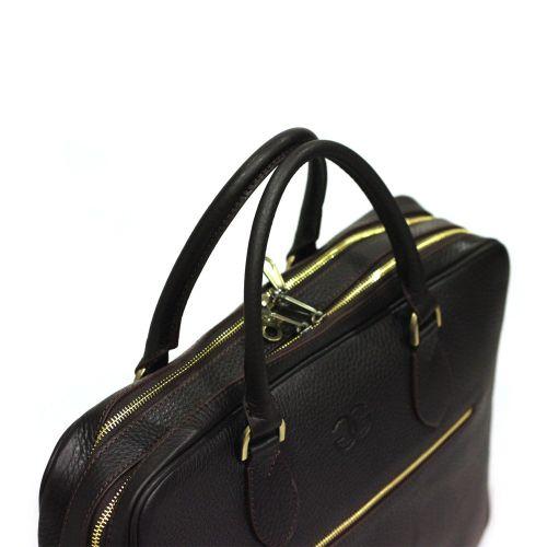 Портфель кожаный GRASS 601-14 коричневый флотар