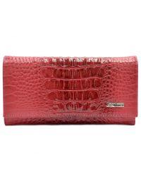 Кошелек женский кожаный Desisan 057-580 красный кроко лак
