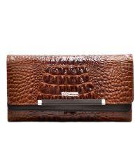 Кошелек женский кожаный Desisan 724-587 рыжий кроко лак