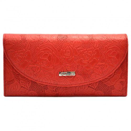 Кошелек женский кожаный Desisan 733-424 красный цветы