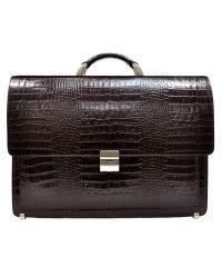 Портфель кожаный Desisan 216-19 коричневый кроко