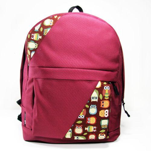 Бордовый рюкзак с совами mini Р14