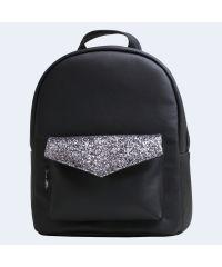 Черный кожаный рюкзак black silver TWINSSTORE Р78
