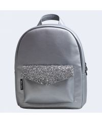 Серебряный кожаный рюкзак silver TWINSSTORE Р80