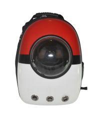 Рюкзак-переноска с иллюминатором U-Pet для котов и небольших собак Oversize красно-белый