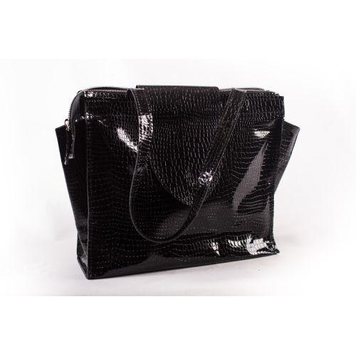 Женская кожаная сумка W-01 Crocodile черная
