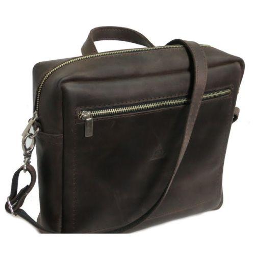 Мужская кожаная сумка M-06 коричневая