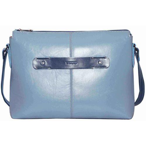 Женская кожаная сумка Wk31 N7.2 голубая
