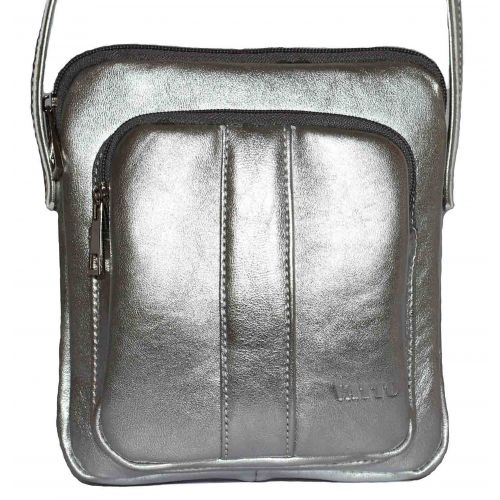 Женская кожаная сумка VATTO Wk48 N11 серебристая