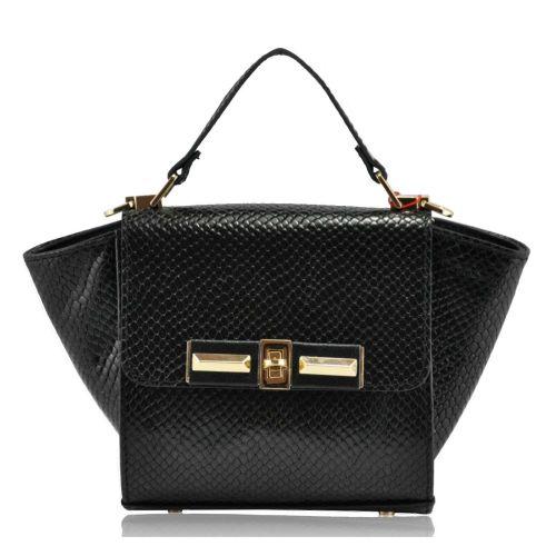 Женская сумка с ушками кожаная питон черная